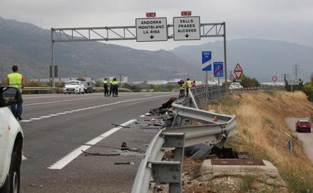 Lugar del accidente en Alcover./EFE
