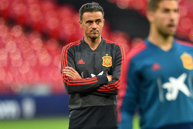 Luis Enrique, ayer en Wembley. :: afp/