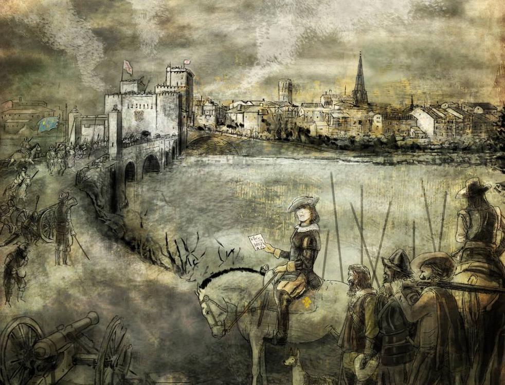 Recreación del general Asparrot al mando de sus tropas sitiando la ciudad de Logroño