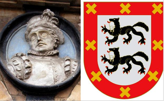 Bajo relieve con la imagen de Diego López de Haro, y el escudo familiar. / BNE